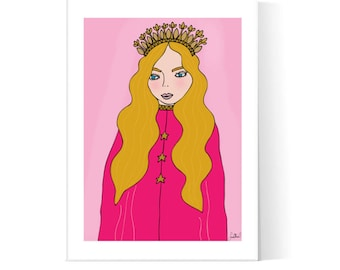 Golden Princess Illustration / Princess Girl Poster / Blonde Girl Illustration / Teen Art / Printable Art / Instant Download / 2JPEG Files