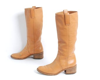 Tan brown leather CHLOE tall RIDING boots