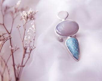 "Barnovi signature ""Spike Ring"" design,Mermaid ring - Handmade Enamel Cloisonne,Sterling Silver,adjustable size,Quartz"