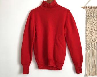 Vintage red orange shetland wool turtleneck sweater, size large l