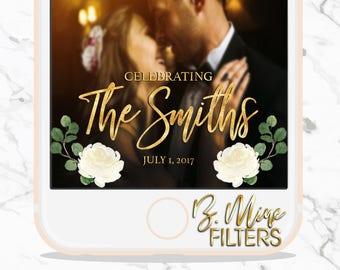 WEDDING SNAPCHAT GEOFILTER, Floral Wedding Snapchat, Greenery Snapchat Filter, Elegant Wedding Snapchat Filter, Custom Snapchat GeoFilter