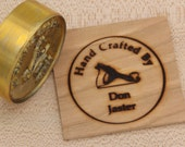 "2"" Round ""Hand Crafted By"" with Hand Plane Custom Text Branding Iron"