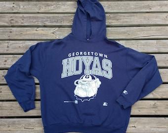 Vintage 1993 Georgetown Hoyas Starter Hooded Sweatshirt Made in Canada Large