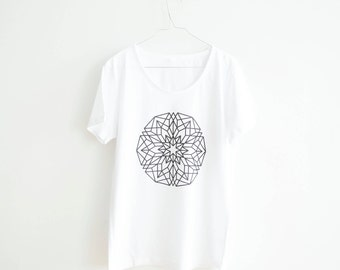 FREE DELIVERY! / White Men Mandala T-Shirt for personal Growth and Development / Sacred white Mandala Shirt / Mandala Top / Mandala Tee