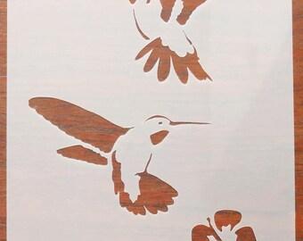 Hummingbirds Stencil Mask Reusable Mylar Sheet for Arts & Crafts, DIY