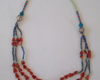 HM Multi Gemstone Triple Strand Necklace