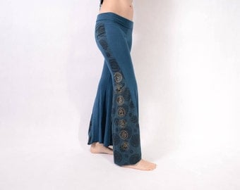 BLUE CHAKRA Leggings - Yoga Pants - Psytrance Leggings - Festival Leggings - Mandala Leggings - Flow Leggings - Bell Leggings - Girls