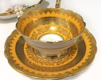 Vintage Royal Stafford bone china Gold/Orange/Yellow Avon footed tea cup, England