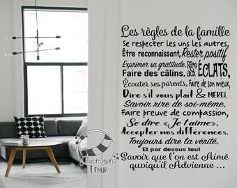 Règles FAMILLE, Vinyle de qualité , règles de la maison, heureux, respecter, merci