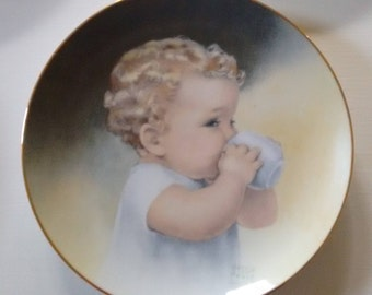 Besse Pease Gutmann 5 Collector Plates  Shipping included Babes and Toddlers  Limited Edition   22 Karat Gold rim