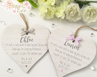 Thank You For Being My Bridesmaid / Maid Of Honour Personalised Heart Plaque Keepsake Gift Wedding Quote Thankyou Present Name - Any Colour