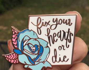 Blue Rose Fix Your Hearts Or Die Twin Peaks Charity Pin Hard Enamel Floral Rose Gold Metal Pin Transgender Equality