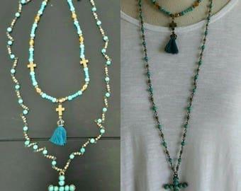 Boho turquoise strand necklace, Cross pendant double chain