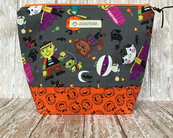 Zippered Knitting Project Bag, Crochet Project Bag, Makeup Bag, Toiletries Bag