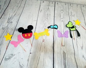 12 Mickey Mouse Cupcake toppers | Mickey's clubhouse birthday party or baby shower decor | Cupcake picks!