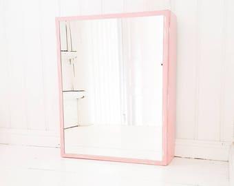 Bathroom cabinet, medicine cabinet, Apothecary cabinet, pink wall cabinet, first aid cabinet, bathroom wall cabinet, medicine chest