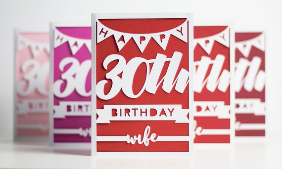 Happy 30th Birthday Card Milestone 30th Birthday Wife Card – Happy Birthday to Wife Card