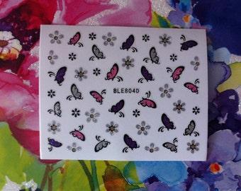 Assorted Butterflies Glitter Festival Nail Sticker Nail Art B201