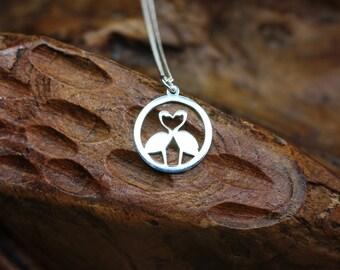 Flamingo Love Pendant Necklace, Bird Necklace, Sterling silver