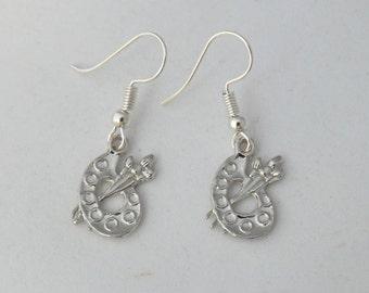 Artist palette with paintbrushes earrings, art lover earrings, art teacher gift, art student gift, sterling silver earrings, customised gift