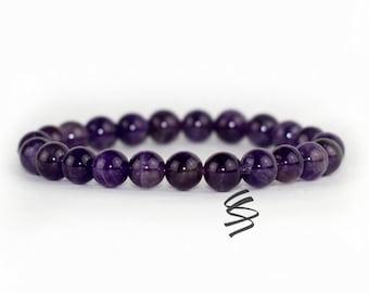 8mm Amethyst Bracelet, February Birthstone, Amethyst Jewelry, Healing Chakra, Natural Amethyst, Meditation Bracelet, Quartz Crystal Gemstone