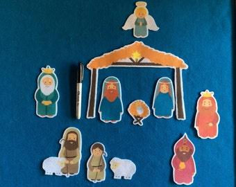 Felt stories nativity set 11 pieces//felt board stories Christmas //flannel stories Nativity scenery // gift//Feltboard stories religious