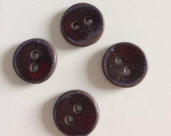 Red and blue effect ceramic Brown buttons, handmade, round button