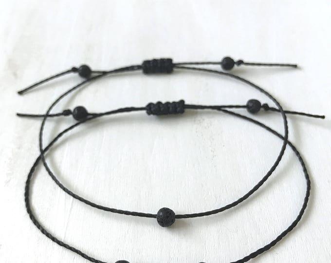 Lava Healing Bracelet, Lava Bracelet for Women, Black Jewelry for Girlfriend, Natural Lava Bead Bracelet, Calming Bracelet