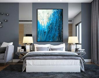 Blue ABSTRACT PAINTING 30x40 Large Canvas Art Blue Painting Original Artwork Large Painting Contemporary Art Minimalist Painting Modern Art