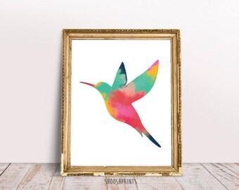 Flying bird, abstract Print, Bird Art, Home Decor, Instant Download, Colorful print, Wall Decor, painting, Printable Wall Art, Bird Prints