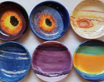 Jupiter space plate deep outer space bowl planet bowl Jupiter bowl dish galaxy universe asteroid blast bright color Jupiter planet dish