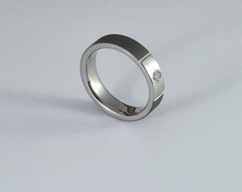 Womens engagement ring, sandblasted titanium ring with a cubic zirconia, wedding band women, women wedding ring womens, her wedding ring