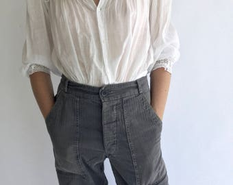 Vintage 28-32 Waist Grey Dutch 60s Military High-Waisted Pants | Herringbone Twill Fatigue HBT Rare Pants. See Size Options.