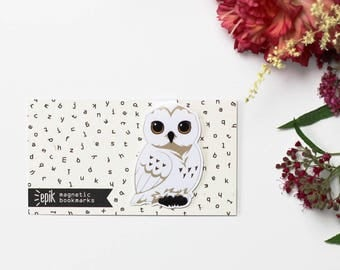 Owl - Magnetic bookmark - Hedwig || harry potter, hogwarts, wizard, always, book lover gifts, bookmark, bookish, magnetic bookmarks