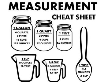 Measurement svg, kitchen svg, cooking svg, cutting board svg, measurement sheat sheet svg, svg, svg files, cricut, silhouette