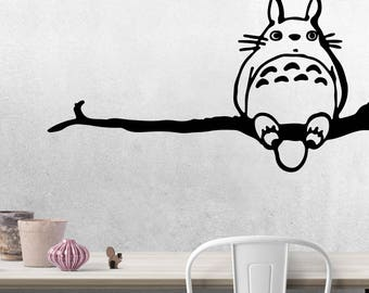 Totoro On A Branch VINYL DECAL   Wall Stickers   Anime Sticker   100cm Long