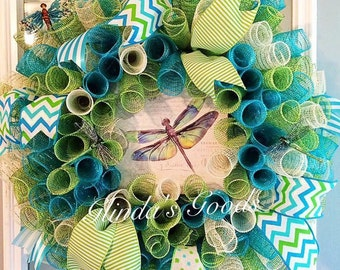 ON SALE! Ready to ship! Dragonfly Wreath, Dragonfly decor, Summer Wreath, Dragonfly Mesh Wreath, Summer Mesh Wreath, turquoise wreath
