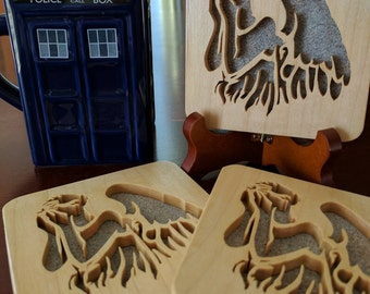 Doctor Who Weeping Angel Hand Cut Wooden Deskorations