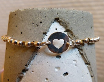 Ball bracelet sterling silver 2.5 mm with heart
