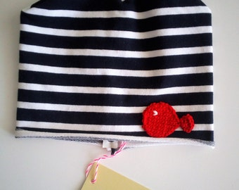 Blue white striped cotton cap with fish