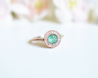 Emerald Engagement Ring Diamond Emerald Engagement Ring Vintage Antique Emerald Engagement Ring Wedding 14k 18k Rose Gold Emerald Ring