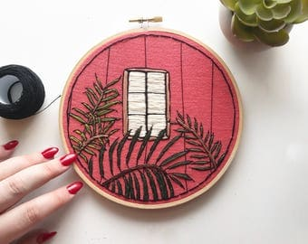 Plant + Window Scene Hand Embroidery Wall Art 6""