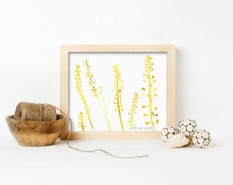 Graceful, Botanical Watercolor, Botanical Art Print, Leaf Art Print, Watercolor Leaf Art, Nature Art Print, Modern, Nature, Leaves, Wall Art