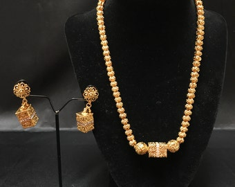 South Indian Jewelry Set - South Asian Jewelry - Temple Jewelry - Antique Gold Jewelry Set - Bollywood Jewelry - Pakistani - Kundan - Desi