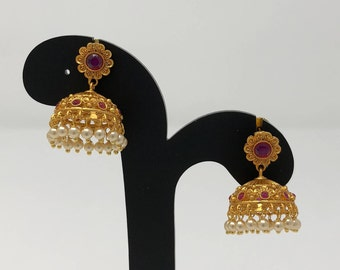 Indian Jhumki Earrings - Jhumki Jhumka Earrings - Temple Jhumka Earrings - Indian Jewelry - Temple Jewelry - Bollywood Earrings -