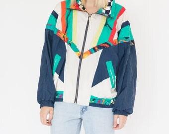 Vintage 90s Multi Color Striped Bomber Jacket