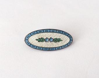 Vintage 1950's Blue Green Silver Oblong Cloissone Enamal Brooch