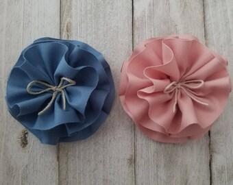 Flower HAIR clip for girl, toddler pink or blue