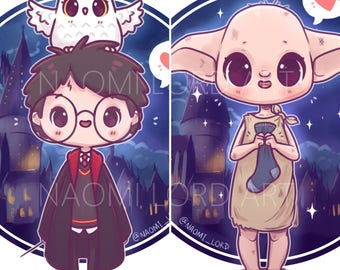 """Harry, Dobby and Hogwarts Stickers and/ or Prints (6x6 or 8x8"""")"""