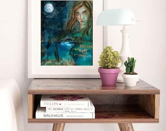 DREAM | Whimsical Art | Dolphin Art | Dolphin Painting | Inspiring Wall Art | Dream Art | Moon Print | Boho Decor